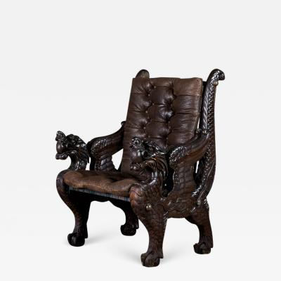 Chinese Carved Dragon Armchair