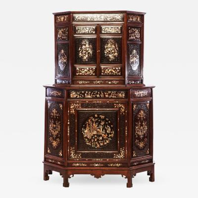 Chinese Carved Hardwood Cabinet with Mother of pearl Inlay