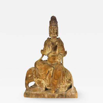 Chinese Carved Wood Bodhisattva Riding Elephant Yuan Dynasty