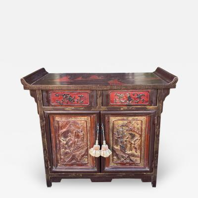 Chinese Chinoiserie Carved Scenic Temple Altar Cabinet Buffet or Nightstand