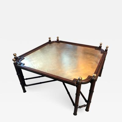 Chinese Chippendale Coffee Table in Bamboo and Brass Italy 1970s