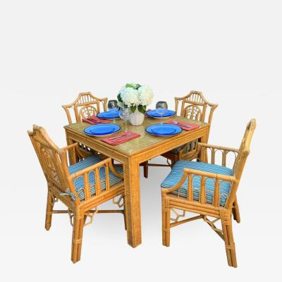 Chinese Chippendale Style Bamboo Game Dining Table and Armchairs