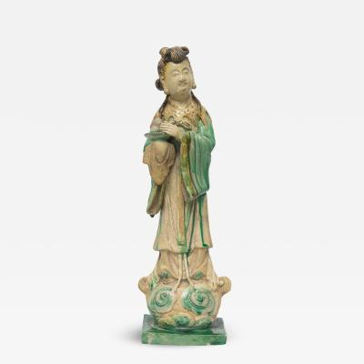 Chinese Clay and Glazed Figure of Woman