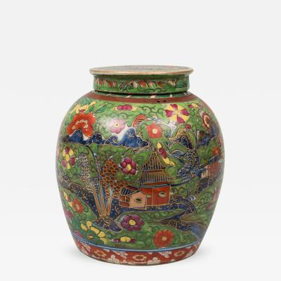 Chinese Clobbered Vase and Lid Circa 1800