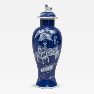 Chinese Cobalt Blue Baluster Vase Lid Circa 1890