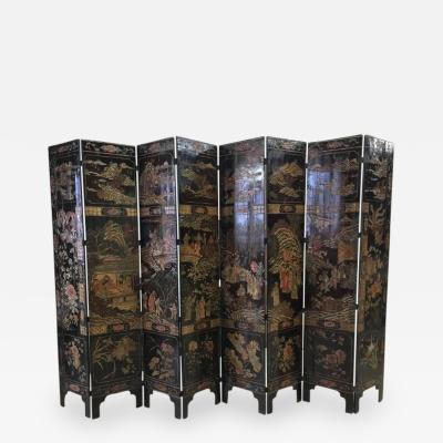 Chinese Coramandel Lacquer Qing Dynasty Eight Panel Screen 19th Century