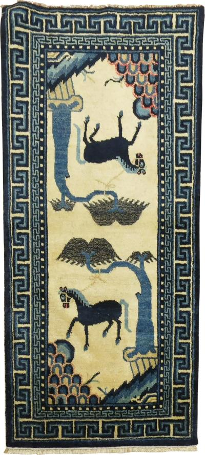 Chinese Double Horse Antique Rug rug no 31293