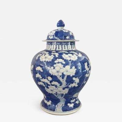 Chinese Export Blue and White Prunus Vase and Lid