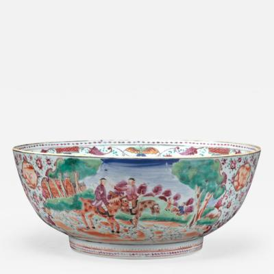 Chinese Export Bowl with Hunt Scenes