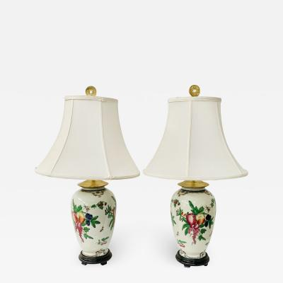 Chinese Export Ceramic Floral Table Lamp a Pair
