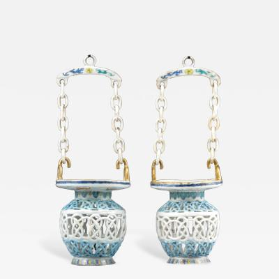 Chinese Export Famille Rose Porcelain Reticulated Hanging Baskets and Chains