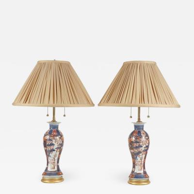 Chinese Export Imari Baluster Vase Lamps