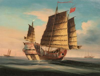 Chinese Export Painting of Ocean Junk in Original Chinese Chippendale Frame