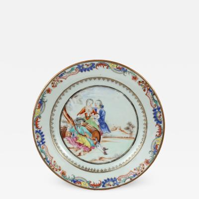 Chinese Export Plate Decorated with a Music Party c 1745