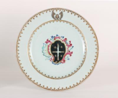 Chinese Export Porcelain Armorial Plate c 1750