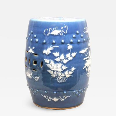 Chinese Export Porcelain Blue Ground Garden Seat