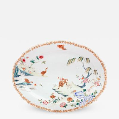 Chinese Export Porcelain Famille Rose Dish Boy on Water Buffalo