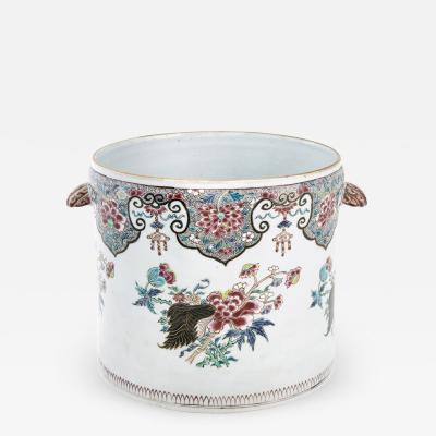 Chinese Export Porcelain Very Large Famille Rose Cache Pot