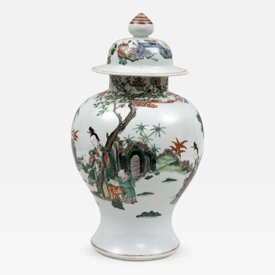 Chinese Famille Verte Baluster Jar and Cover 18th Century