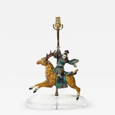 Chinese Figure Riding a Deer Mounted as a Lamp