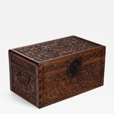 Chinese Finely Carved Huanguali Document Box