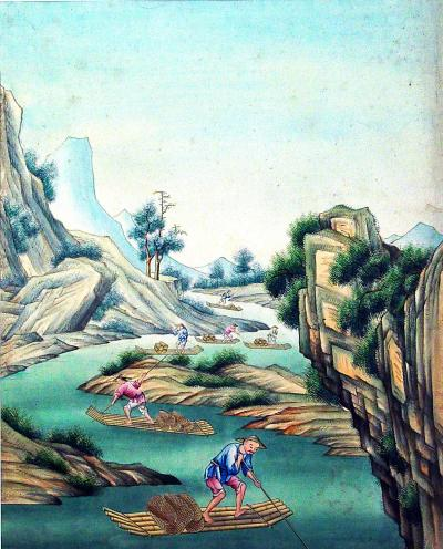 Chinese Gouache Watercolor Pair of Large Paintings of Landscapes