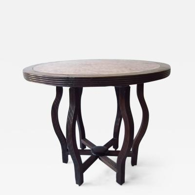 Chinese Hardwood Table with Marble Top Inlay