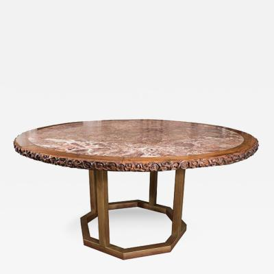 Chinese Hongmu Round Table with Inset Marble Top on Contemporary Base