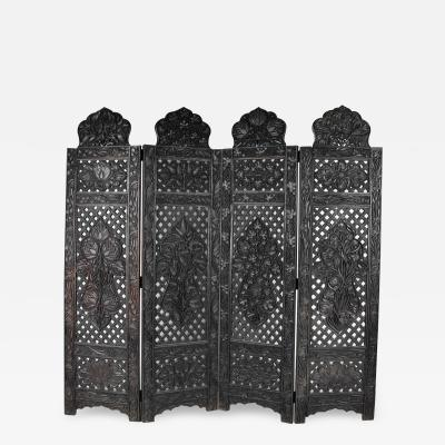 Chinese Intricately Carved Hardwood Screen