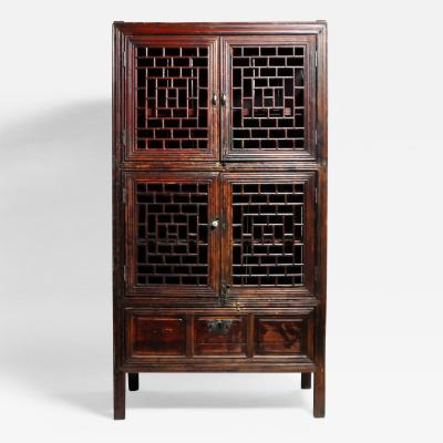 Chinese Lattice Cabinet with Original Patina