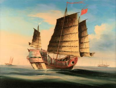 Chinese Painting of a Junk