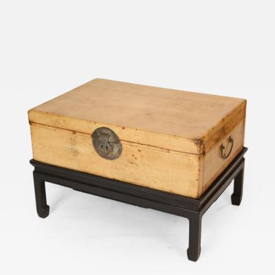 Chinese Pigskin Trunk on Stand