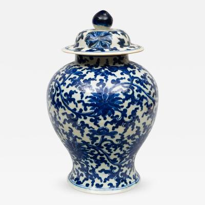 Chinese Porcelain Blue and White Baluster Vase and Lid