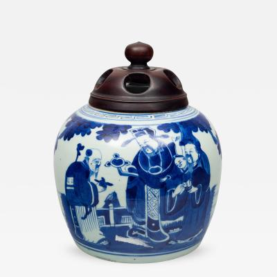 Chinese Porcelain Blue and White Squat Vase Circa 1850