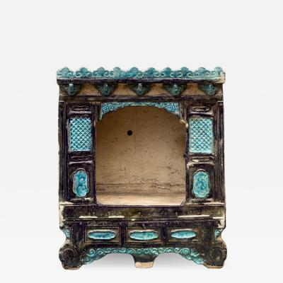 Chinese Pottery Bed with Blue Glaze