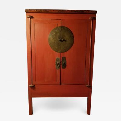 Chinese Qing Dynasty Red Lacquer Cabinet 19th Century