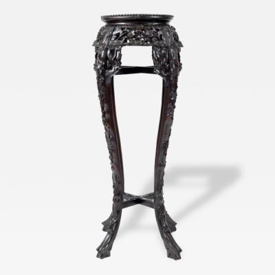 Chinese Rosewood Marble Top Pedestal Stand Antique 1900s