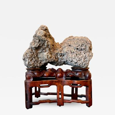 Chinese Scholar Rock Kun Stone on Display Stand