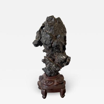 Chinese Scholar Rock Wen Stone on Display Stand