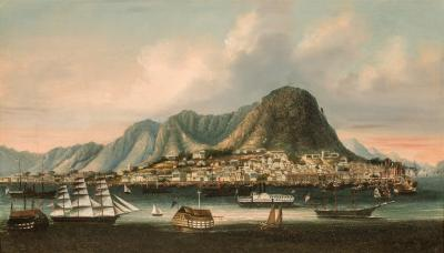 Chinese School Hong Kong and Victoria Peak Circa 1855