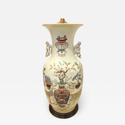 Chinese Vase Mounted and Wired as a Lamp