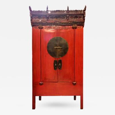 Chinese Wedding Cabinet with Crown 19th Century