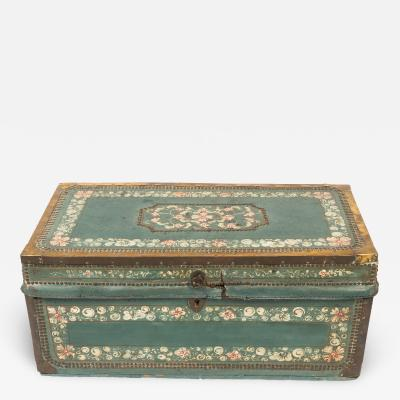 Chinese decorated blue leather covered camphor wood trunk