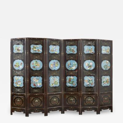 Chinese folding lacquer screen mounted with cloisonn enamel panels