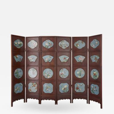 Chinese folding screen mounted with cloisonn enamel panels
