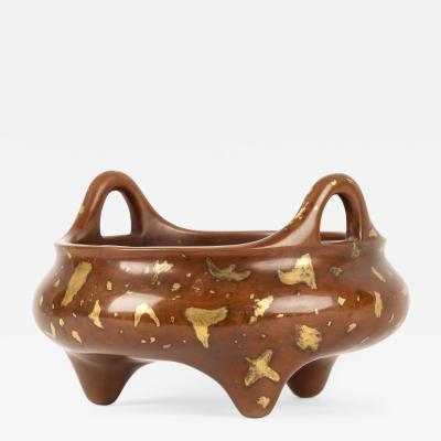 Chinese gold splashed bronze censer