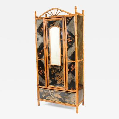 Chinoiserie Decorated and Bamboo Armoire