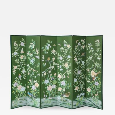 Chinoiserie Six Panel Hand Decorated Screen