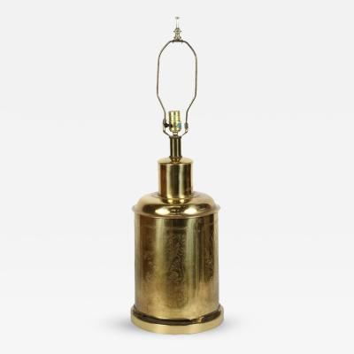 Chinoiserie Tea Canister Brass Table Lamp