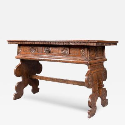 Chip Carved Desk or Console Table 17th Century Portuguese